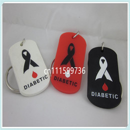 $enCountryForm.capitalKeyWord Canada - 25pcs lot MEDICAL ID DIABETIC silicone Dog Tag Key Chain Ring 3 Colours
