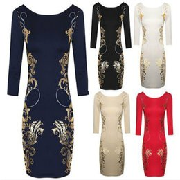 $enCountryForm.capitalKeyWord Canada - Women Printing Bodycon Dresses Casual Floral Pencil Dress Long Sleeve Slim Elegant Fashion Suits 2017 New Autumn
