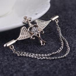 $enCountryForm.capitalKeyWord Canada - Men brooch brooch badge Korea angel wings suit upscale chain pin buckle collar pin female retro badge
