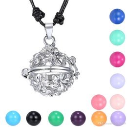Pregnancy Chime Pendant Australia - Angel Caller Chime Ball Pendant Necklace Women Pregnancy Baby Flower Hollow Cage Bell Jewelry Fit 16mm Chime Ball 2016 Mexican Bola