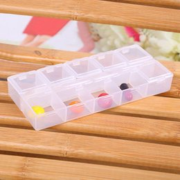 Bead Organizers Storage Containers Canada - Newest Arrival Earring Ring Jewelry Bin Bead Case Container Boxes Transparent Plastic Rectangle 10 Compartment Storage Box YWT