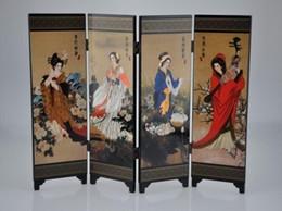 Toptan ucuz oryantal Çin altın lake katlanır oda ekran bölücü dört harika güzellikler