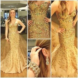 Barato Vestido De Baile De Formatura Taffeta Mermaid Barato-2016 Novos vestidos de noiva sexy usam Sweetheart Crystal Major Beading Gold Mermaid Taffeta Long Cheap Formal Vestidos Cheap Prom Party Gowns