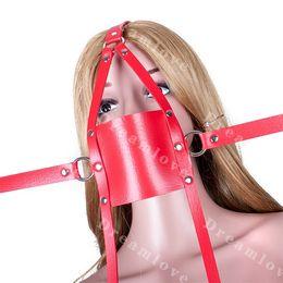 Ball Strap Sex Toy Canada - Sex Bondage Trainer Cross Strap Lockable Panel Gag Head Harness Face Mask Fetish Restraint Adult Sex Toys