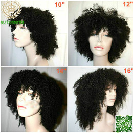 Kinky Curly Human Hair Afro Wigs Australia - Brazilian Human Hair Wig Afro Kinky Curly Glueless Full Lace  Front Lace Wigs with Full Bangs Baby Hair