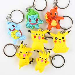 Chinese  Fashion Accessories Poke Go Keychains Anime Pocket Monster Eevee Series Pikachu Keychain Key Ring Pendant Action Figures Pikachu 3D Keyring manufacturers