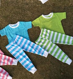 $enCountryForm.capitalKeyWord NZ - Fall Pajamas boutique striped full length pant baby solid color short sleeve cotton kids Sleepwear clothing