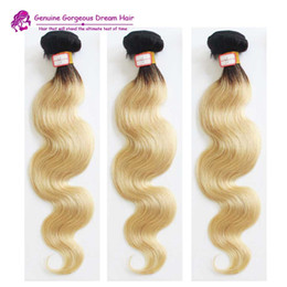 dark red human hair extensions 2019 - Dark Root Ombre Hair Extensions 1b 613 Peruvian Human Hair Body Wave Wavy Red Two Tone ombre Human Hair Weave bundles ch