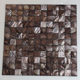 Water Tablets UK - [FREE SHIPPING] 25x25mm Brown color mother of pearl shell mosaic , seamless tile, mesh backer, fresh water shell tile ( MS154)