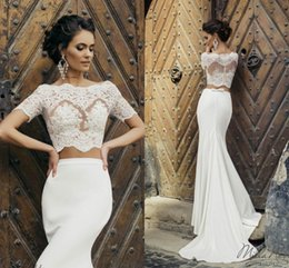 2017 Newest Mermaid Wedding Dresses Short Sleeves Illusion Bodice Appliques Satin Two Piece Crop Top Beach Bridal Supplier Cropped