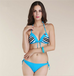 Barato Bikini Marinha Listrado-AAA novo 2017 Mulheres Sexy Navy Striped Bikini Push Up Swimwear Fêmea Wire 3 Pieces Traje de banho Dress Set Tankini Plus Size Summer Beachwear