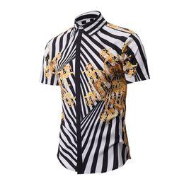 Discount long gold downs - Wholesale- 2017 new Men's Fancy Shirts Fashion Gold Striped Shirt Men Retro Floral Hawaiian Shirt Casual Short Slee