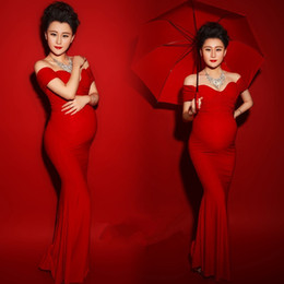 Discount maternity clothes Maxi Maternity Gown Shooting Photo Clothing Maternity Photography Props Sexy Boat Neck Red Color Pregnant Dress Vestido