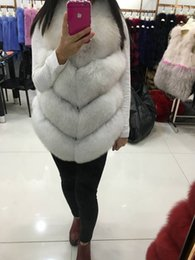 Veste Blanche Pas Cher-Gros-femmes Whole peau Manteau fourrure véritable Fox Gilets naturel réel naturel White Fox Fur Polaires Winter Fur Feminino pour dame manteaux élégants