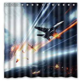 Airplane Attack Sky Clouds Design Shower Curtain Size 180 X 180 Cm Custom  Waterproof Polyester Fabric Bath Shower Curtains