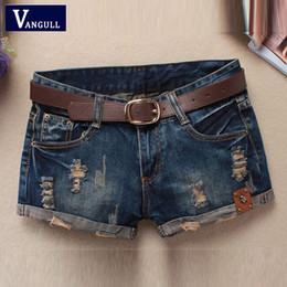 Barato Venda Jeans Shorts Denim-Atacado- Hot Sale 2016 Summer Shorts Mulheres Vintage Club Denim Shorts Sexy Hip Hop Skull Patch Loose Grande tipo Ripped Shorts Without Belt