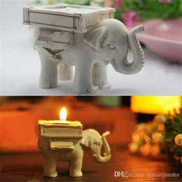 Religious Candle Holders Canada - New Arrival 200pcs lot Lucky Elephant Antique-Ivory Candle and Card Holder Wedding Favors and Baby Gifts