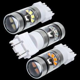 Discount universal car reflector - 2X New Super Bright T25 3157 P27 7W Double Reflector Cup LED Car Light Motor DRL Driving Lamp Turn Signal 3156 3057 3456