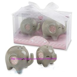 Barato Casamento Chuveiro Favorece Sal-200pcs = 100sets Mommy and me Ceramic Little Peanut elefante de cerâmica sal e pimenta Shaker Set festa do bebé favores Party Wedding