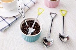 Discount shovel designs Stainless Steel Spoon Shovel Shape Design Coffee Ice Cream Soup Honey Spoon Long Handle Tea Spoons