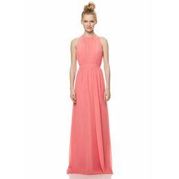 $enCountryForm.capitalKeyWord UK - Hot Selling Jewel Neck Sleeveless Ladies Halter Bridesmaid Dresses Pink Long Dress Chiffon Formal Design Custom Made Gown