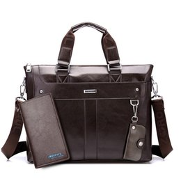 Chinese  Fashion Men Tote Casual Briefcase Business Shoulder Black Leather High Quality Messenger Bags Laptop Handbag Men's Bag manufacturers