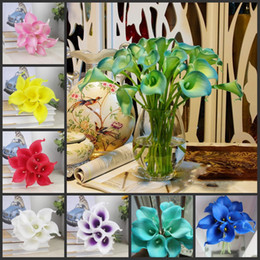 Fake Lilies Flowers Australia - Top Quality 38CM Real Touch Lily Calla Artificial PU Flowers for Bridal Wedding Bouquet Home party Decoration Fake Flowers 10 Colors
