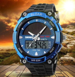sports watches solar Canada - KMEI Brand Solar energy Men Sports Watches Outdoor Military LED Watch Fashion Digital Quartz Multifunctional Dress Wristwatches