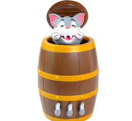 funny adult gadgets UK - Funny Novelty Kids Lucky Game Gadget Jokes Tricky Tom Cat Barrel Game For Children Adults Party Meeting Day