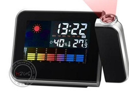 Wholesale Led electronic table clock weather forecast projection clock desk clocks digital alarm clock creative Snooze color table clocks