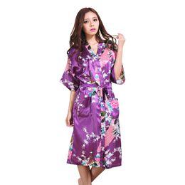 $enCountryForm.capitalKeyWord NZ - Wholesale- Purple Silk Rayon Kimono Bath Gown Women Long Sexy Robes Bridesmaid Nightgown Summer Lounge Sleepwear Plus Size XXXL