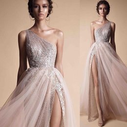 Chinese  Berta A Line Prom Dresses Evening Wear Free Shipping One Shoulder Sequined Shiny Evening Gowns High Split Custom Made Formal Prom Dresses manufacturers