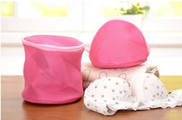Household Laundry Basket Canada - 2 styles Bra laundry bag for Washing bra underwear Care wash Double Layer Rose Net bag Bra Laundry basket novelty household 50pcs