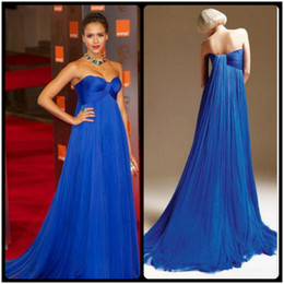 Robes Longues De Plage Tapis Rouge Pas Cher-Mode Royale Blue Beach Celebrity robes de soirée longues formelles Robes de bal chérie Tulle plissé Backless 2017 Red Carpet