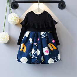 Barato Princesa Bonito Das Meninas-Everweekend Kids Girls Cute Cartoon Sweet Princess New Autumn Dress Fashioon ocidental Ruffles Tutu Baby Dress Clothing