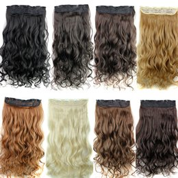 curly synthetic ponytail Canada - Synthetic clip in hair extension Ponytails 5clips curly hair pieces 24inch 120g clip on hair extensions more colors