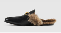 China Winter latest design black leather furs slippers warm winter women's fur lined Slipper flats shoe loafers,size34-42 supplier loafer shoes design suppliers