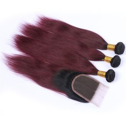Brazilian Human Hair 1b 99j UK - Two Tone 1B 99J Wine Red Ombre Brazilian Human Hair Wefts with Lace Closure Straight Burgundy Ombre 4x4 Lace Top Closure with 3Bundles