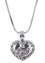 Discount locket cage silver - Fashion Love pearl Heart cage pendants Hollow letter Best Mom Lockets Charm in silver plated Fit necklace Jewelry in Bul
