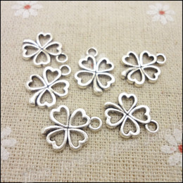 $enCountryForm.capitalKeyWord NZ - findings clasps 160 pcs Charms Clover Pendant Tibetan silver Zinc Alloy Fit Bracelet Necklace DIY Metal Jewelry Findings