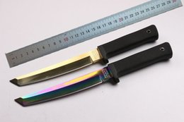 $enCountryForm.capitalKeyWord UK - Drop shipping OEM Cold steel Outdoor survival straight knife 440C 59HRC Steel Tanto point blade knife knives Gold coated