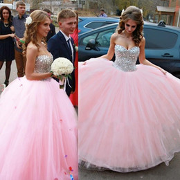 Barato Vestido De Lantejoulas-Princesa Quinceanera Vestidos 2016 Sweetheart Tulle Beads Sequins Celebrity Prom Dress Layers Voltar Lace Up Formal Ball Gown Vestidos de noite