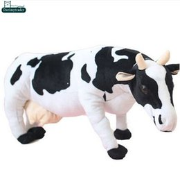 China Dorimytrader 28''   70cm Lovely Emulational Milk Cow Toy Plush Soft Stuffed Big Animal Cow Doll Nice Baby Present Free Shipping DY60982 supplier milking cow toy suppliers