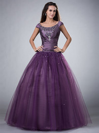 Beaded Modest Prom Dresses Canada - Purple Ball Gown Long Modest Prom Dresses With Short Sleeves Scoop Corset Back Sparkly Beaded Floor Length Teens Formal Prom Gowns