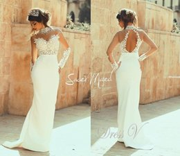 See Through Wedding Dress Crystal Beading Canada - 2019 Muslim Sheath Lace Wedding Dresses with Long Sleeves Beaded Lace See Through Bodice Backless High Collar Arabic Bridal Gowns