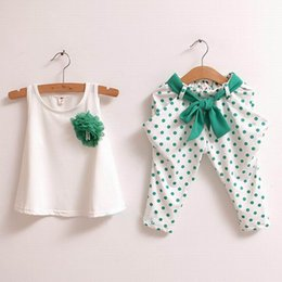 T-shirt Design Fille Fleur Pas Cher-2016 New Design Baby Summer Clothes Sets T-shirt Pantalons Girls Sweet Clothes Flower Vest Polka Dot Harem Pants Twinset