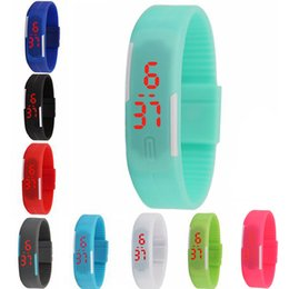 silicone kids watch bracelet Australia - Simple Style Candy Color Rectangle Kid Watch Soft Silicone LED Digital Outdoor Sport Watch Casual Mini Bracelet Watch for Man Woman