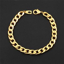 869ce5a8af86 Europa y América Hotsale 7 mm 20 cm 22 cm 18 K oro amarillo plateado pulsera  cubana enlace cadena para hombres para boda
