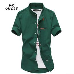 Wholesale brown long sleeve button up shirt online – Gradient Men Denim Shirts Short Sleeve Camisa Chambray Mens Dress Shirt Collar Button Up Men Shirts Chemise XXXL YK UNCLE