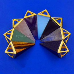 Amethyst Opal Pendant NZ - 2016 The Pyramid Amethyst Moonstone Opal Natural Stone Pendant Accessories European Fashion Jewelry men women jewelry gifts 16pcs Mix Order